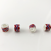 4 Enamel Tube Beads 8mm Hole 5mm